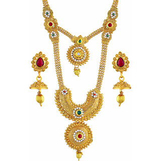 Asmitta Jewellery Enchanting Gold Plated Zinc Opera Style Necklace Set For Women