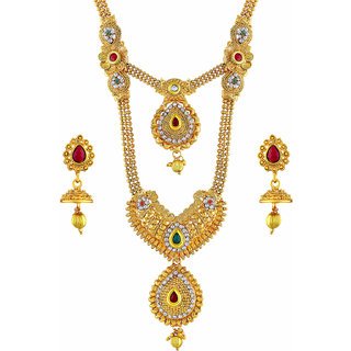 Asmitta Ravishing Gold Plated Opera Style Necklace Set For Women