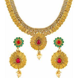 40e2d8420f60a Buy Asmitta Laxmi Coin Traditional Gold Plated Rope Style Necklace Set For Women  Online - Get 75% Off