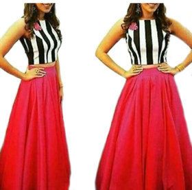 striped crop top with long plaited skirt