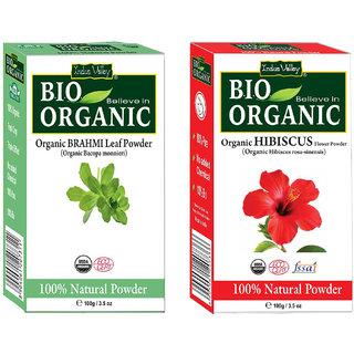 Natural Hibiscus Powder And Brahmi Powder Pack Of 2 For Hair Loss  Dandruff