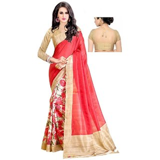 Meia Pink & Beige Bhagalpuri Silk Block Print Saree With Blouse