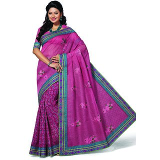 Ashika Designer Pink Cotton Saree for Women with Blouse Piece