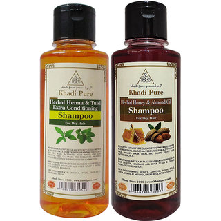 Khadi Pure Henna  Tulsi and Honey  Almond Oil Shampoo Combo (420ml) Pack 2