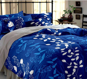 BSB Trendz Floral 3D Print Blue Double Bedsheet with 2 pillow cover
