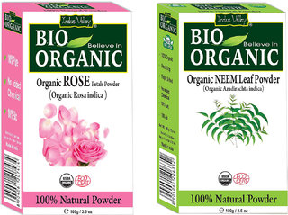 Rose Petal Powder Natural Sunscreen  Sunburn Soother And Neem Powder Prevent Skin Infection Set Of 2