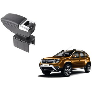 Stylish Black Arm Rest Console For Renault Duster - Arm Rest in Chrome Design with Ashtray, Cup Holder And Storage