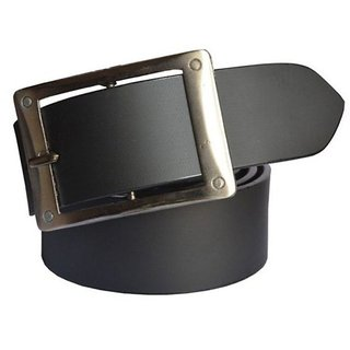 Sunshopping Men Black Leatherite H Pin-Hole Buckle Belt