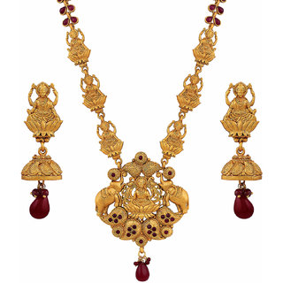 2e67e4a41116b Asmitta Marquise Temple Laxmi Pandent Gold Plated Opera Style Necklace Set  For Women