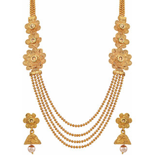 Asmitta Shimmering Multy Layer 4 String Jalebi Design Gold Plated Matinee Style Necklace Set For Women