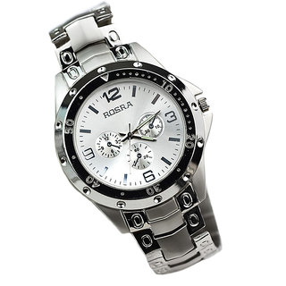 New Rosra Round Dial Silver Strap Mens Watch By Hk collection 6 month warranty