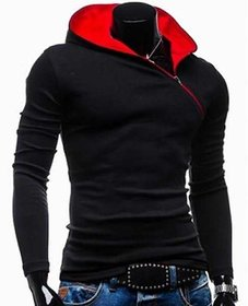 Redbrick Black Plain Full Sleeve Hooded Casual T-Shirt For Men