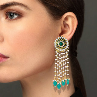 Asmitta Creative Flower Shape Meenakari Work Gold Plated Dangle Earring For Women