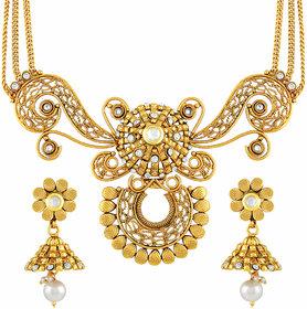 Asmitta Dazzling Filigiree Design Gold Plated Choker Style Necklace Set For Women