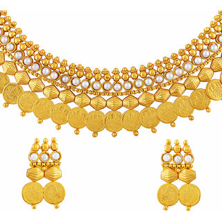Asmitta Stunning Laxmi Coin Traditional Gold Plated Choker Style Necklace Set For Women
