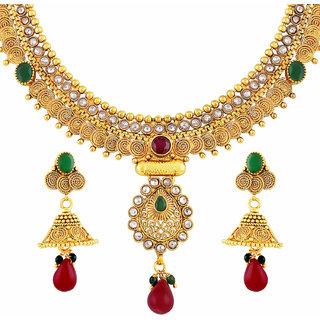Asmitta Amazing Jalebi Shape Gold Plated Choker Style Necklace Set For Women