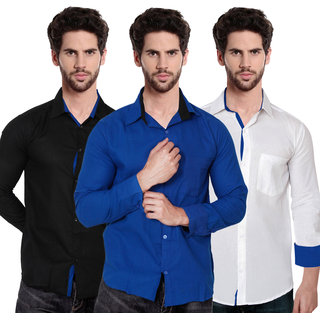 Balino London Men's Contrast Casual Shirts (Pack Of 3)
