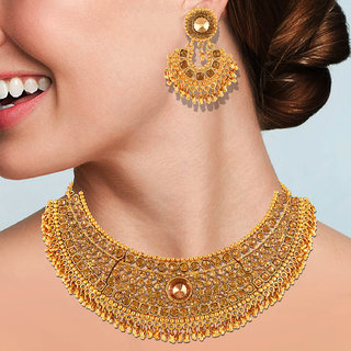Asmitta Traditional  Gold Plated Choker Style  Necklace Set For Women