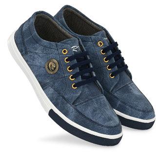 BRK Blue Smart PVC Lace-up Casual Shoes For Men