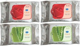 GINNI CLEA WIPES Cleansing  Make-up Remover  2 Rose and 2 Aloevera pack 30  per pack