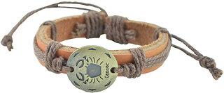 Unisexual Faux Leather Zodiac Cancer Sunsign Tan Brown Threadwoven Bracelet (AFZDBRCNC)