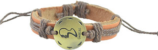 Unisexual Faux Leather Zodiac Gemini Sunsign Tan Brown Threadwoven Bracelet (AFZDBRGMN)