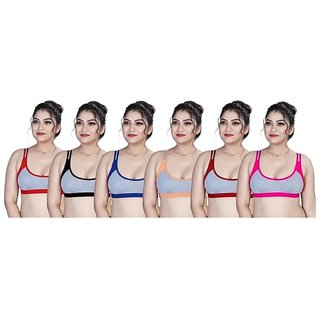 Pack Of 6 Non- Padded Plain Multicolor Cotton Bra By low price mall
