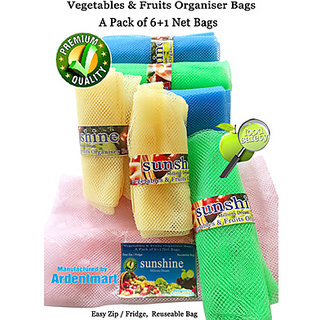 Sunshine Fridge Storage Net Bag / Vegetable  Fruit Organizer, A pack of (6+1) Eco friendly, Multipurpose, Reusable Bag.