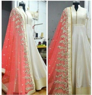 Fabrica Shoppers White Embroidered Anarkali Suit With Pink Duptta