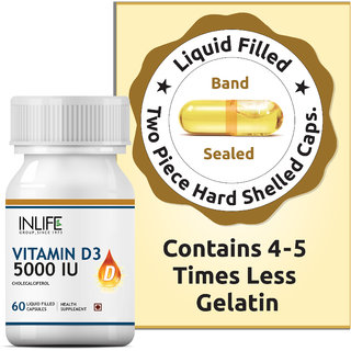 INLIFE Vitamin D3 Supplement for Men Women 5000 IU - 60 Liquid Filled Capsules