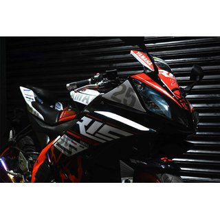 CR Decals Yamaha R15 V2 Full Body Wrap Custom Decals/Stickers Motogp 25 Inspired Race Kit-Red for Bike - 10 inches(25.4 cm)