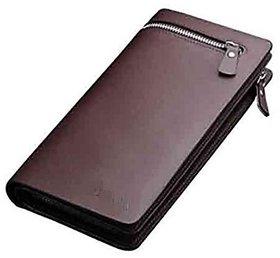 Men And Women Designer Long Brown Zipper Wallet (Brown)