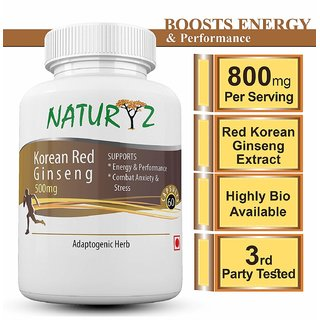 Naturyz Korean Red Ginseng -800mg - 30 Servings (60 capsules) for more energy and less stress
