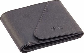 Woodland Side Flap Men Black Artificial Leather Wallet