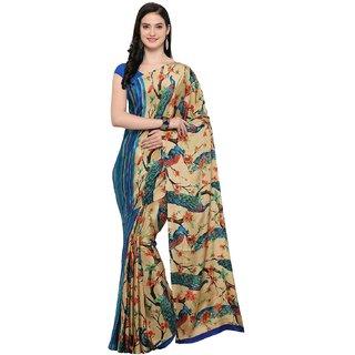 Meia Multicolor Satin Self Design Saree With Blouse
