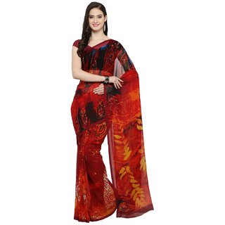 Meia Red Georgette Self Design Saree With Blouse