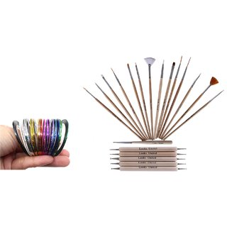 Looks United 15 Nail Art Brushes, 5 Dotting Tools, 11 Striping Tape Rolls (Pack of 31)