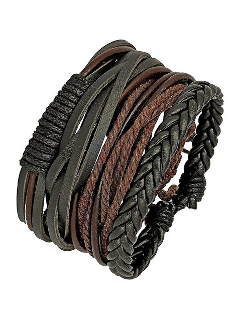 cb86497eb284b The Jewelbox 100 Genuine Black Leather Brown Dyed Rope Stylish Wrist Band  Strand Bracelet Boys Men
