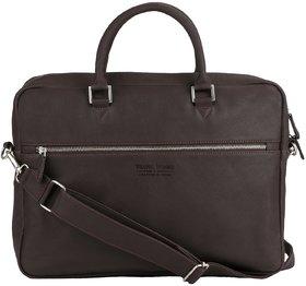 TRAFELWOODS Leather 15.6 Dark Brown Laptop Briefcase