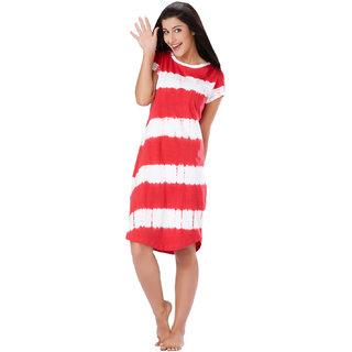 Mystere Paris Women's Red Tie-Dye Cotton Night Gowns & Nighty