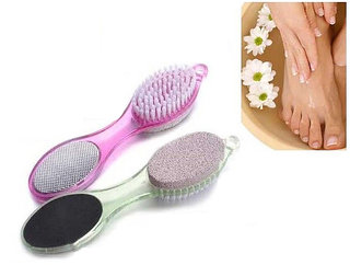 BEST QUALITY 4 in 1 Multi-use Foot Care Brush Pumice Scrubber Pedicure Tool Set Pack Of 1 ( Multi color )