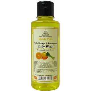 Khadi Pure Herbal Orange  Lemongrass Body Wash - 210ml