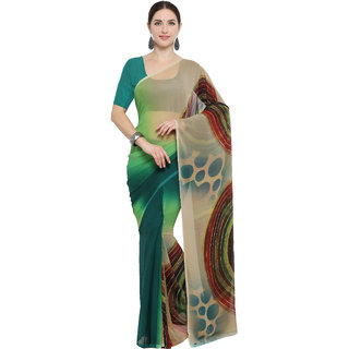 Meia Green Georgette Self Design Saree With Blouse