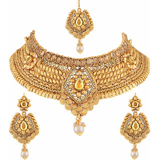 Asmitta Jewellery Gold Plated Gold Zinc Necklace set for women