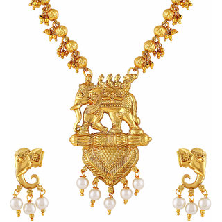 40a08a7453873 Buy Asmitta Jewellery Gold Plated Gold Zinc Necklace set for women Online -  Get 43% Off