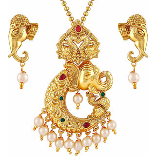 Asmitta Jewellery Gold Plated Gold Zinc Pendant With Chain  Earrings For Women