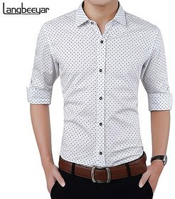 Acro Fly White Dott Print Shirt For Men