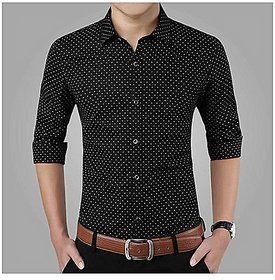 Acro Fly Black Dott Print Shirt For Men