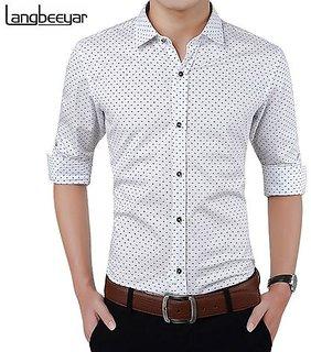 Acro Fly White Dott Print Shirt For Men