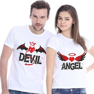 Devil Angel White Printed Cotton T-Shirt - Couple Combo